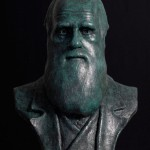Bronze portrait bust sculpture of the naturalist Charles Darwin by the artist Anthony Smith