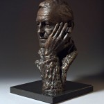 Bronze portrait bust sculpture of the author Ian Fleming by the artist Anthony Smith