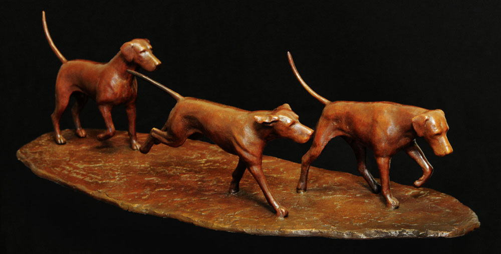 Bronze sculpture of Hounds by artist Anthony Smith