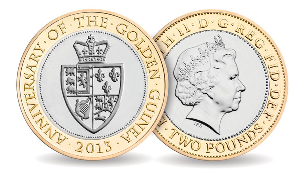 Guinea two pound coin designed and sculpted by the artist Anthony Smith