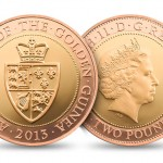 Guinea two pound coin in gold designed and sculpted by the artist Anthony Smith