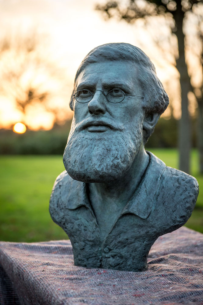 Bronze bust sculpture of the naturalist Alfred Russel Wallace by artist Anthony Smith for the National Botanical Garden of Wales