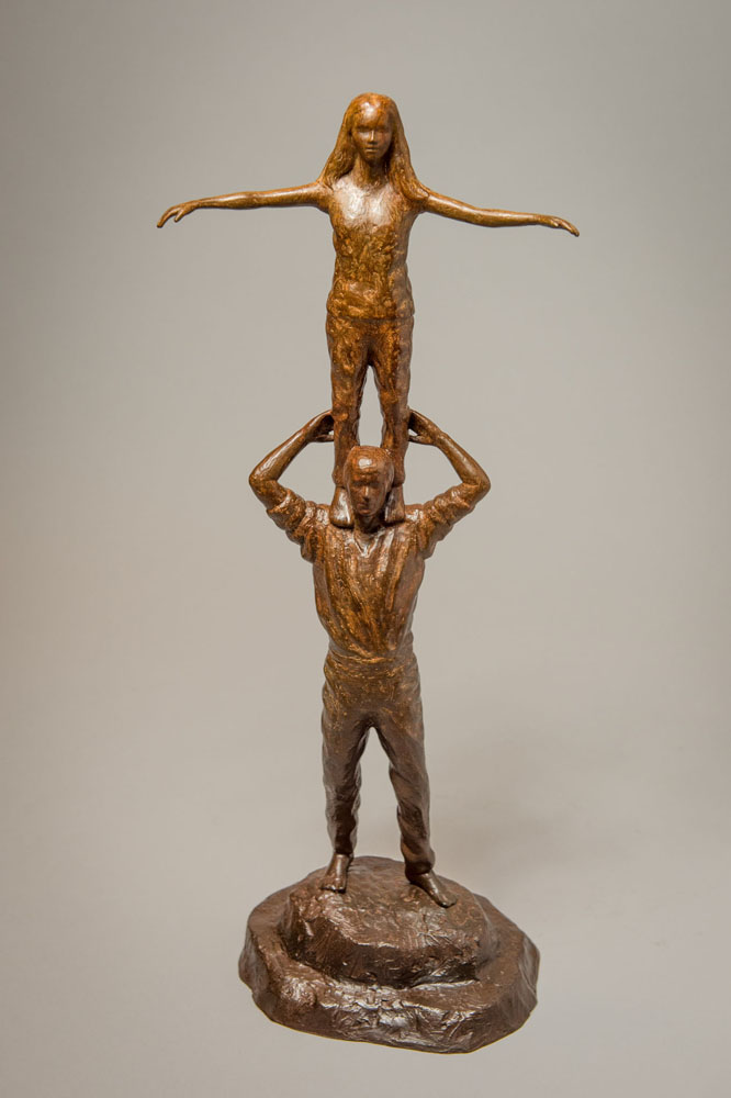 Bronze statuette sculpture of a pair of male and female performers by the artist Anthony Smith