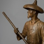Bronze statuette sculpture of a Chinese Fisherman by artist Anthony Smith