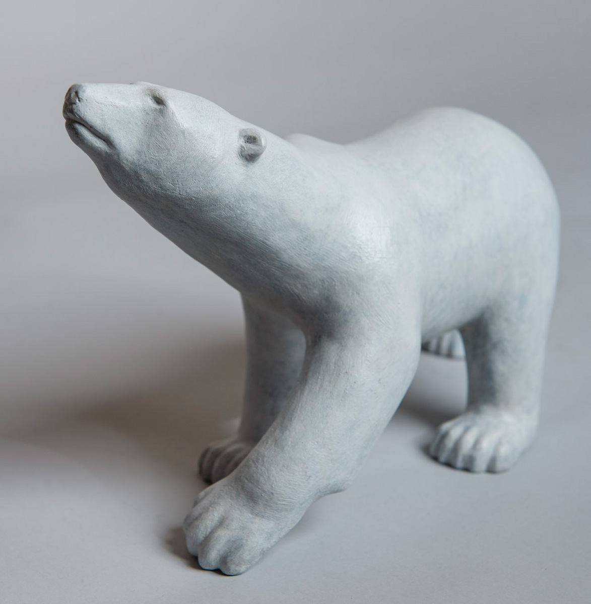 Bronze sculpture of a Scenting Polar Bear by artist Anthony Smith