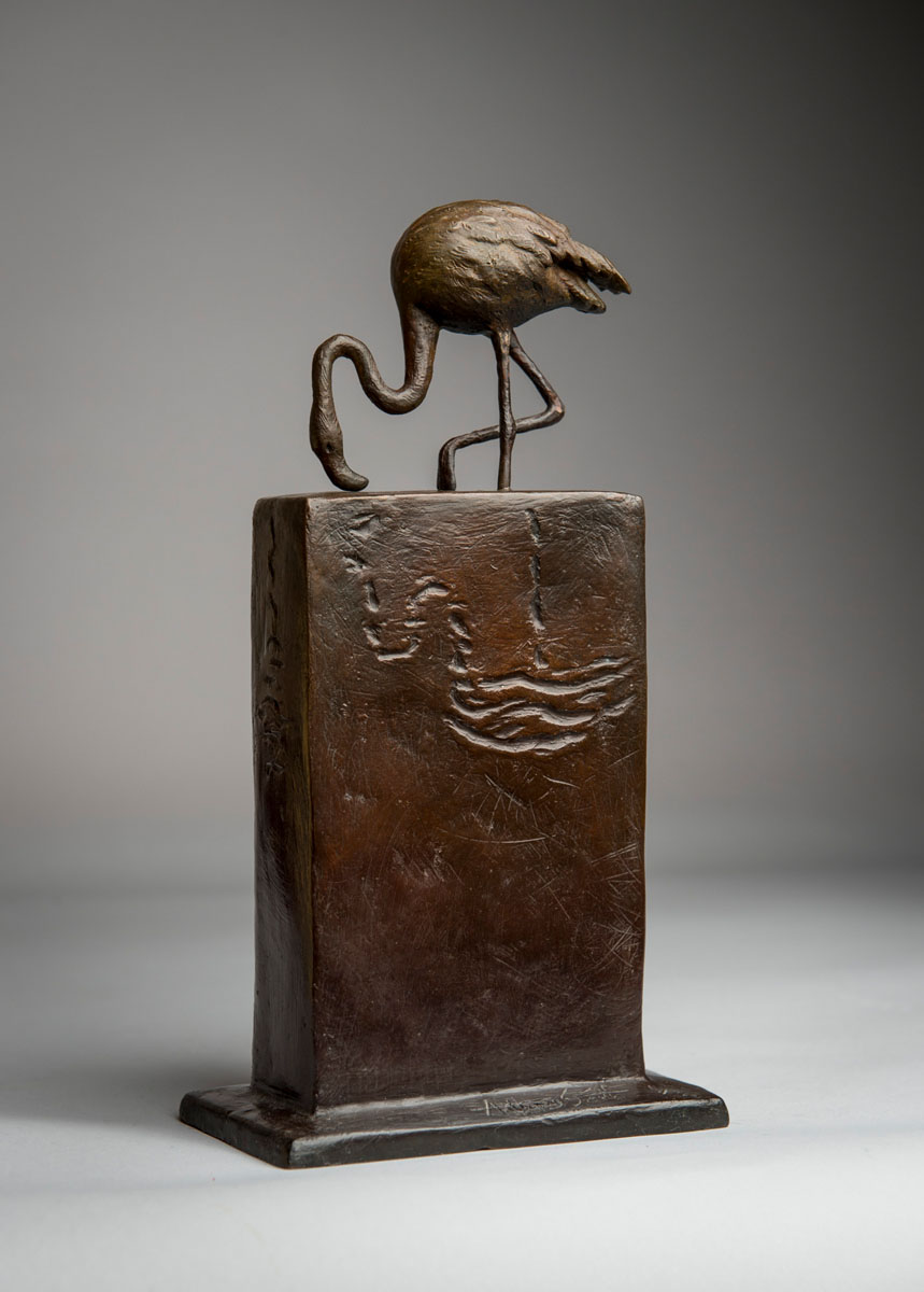 Bronze sculpture of a Flamingo bird by artist Anthony Smith