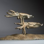 Bronze sculpture of a pair of Cuttlefish by artist Anthony Smith