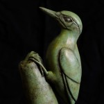 Bronze sculpture of a Green Woodpecker by artist Anthony Smith