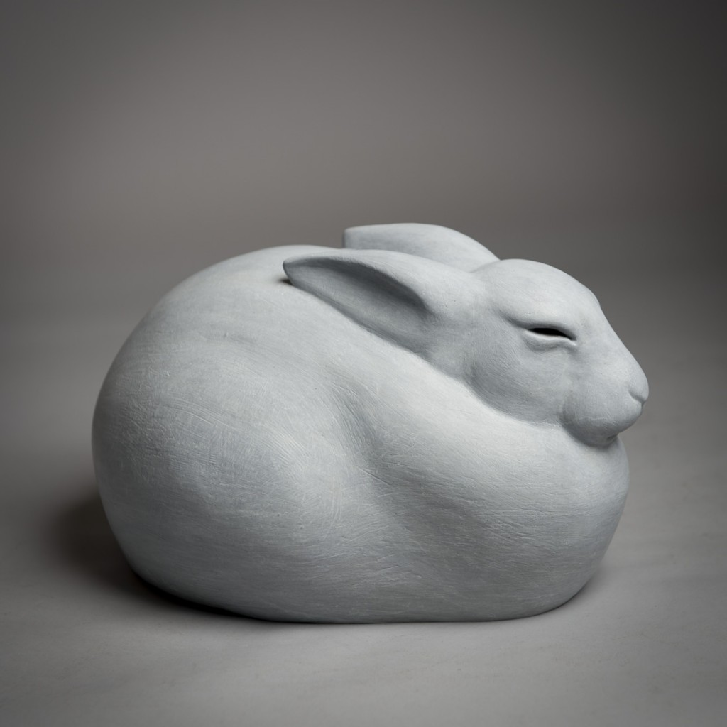 Bronze sculpture of an Arctic Hare by artist Anthony Smith