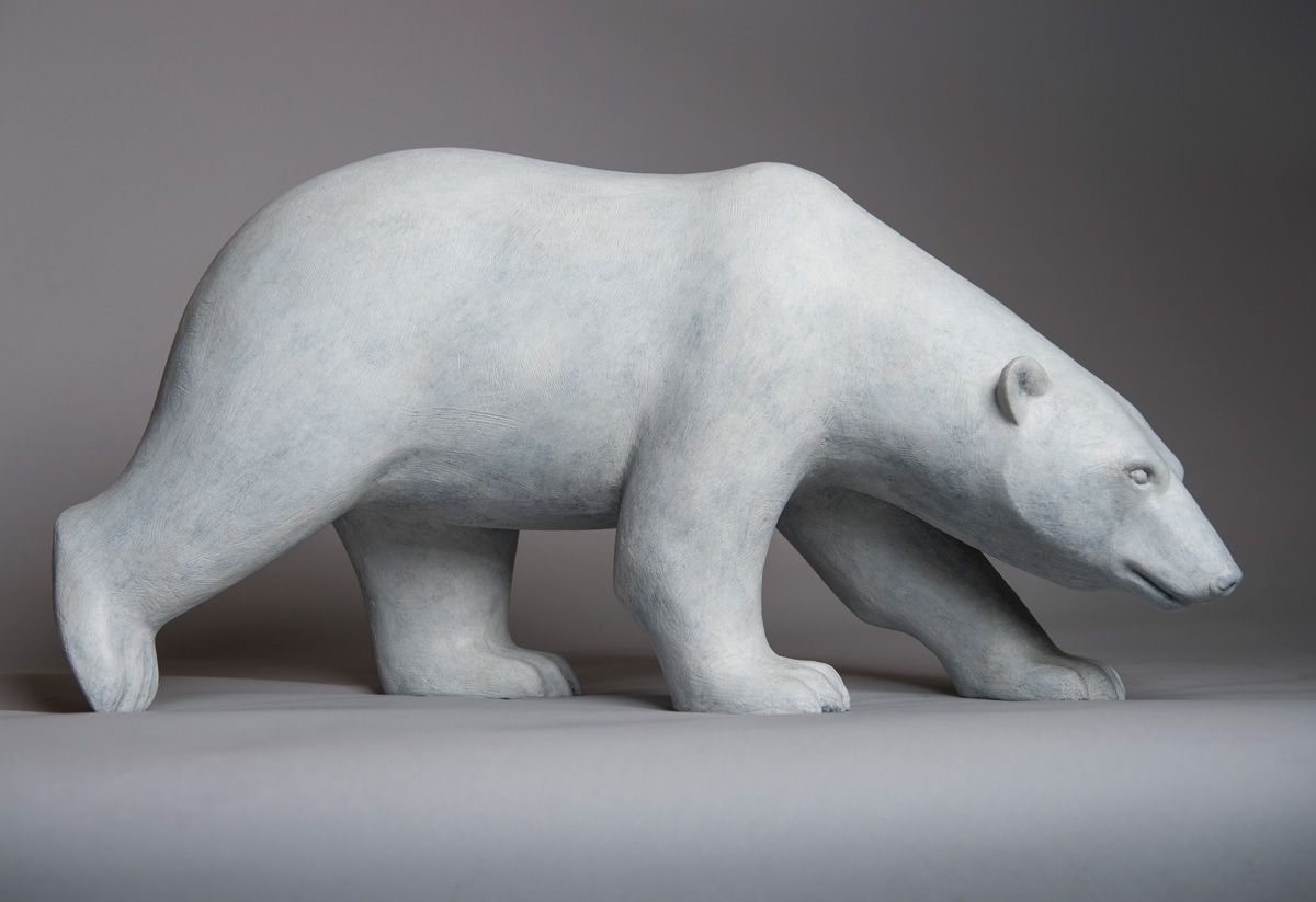 Bronze sculpture of a Stalking Polar Bear by artist Anthony Smith