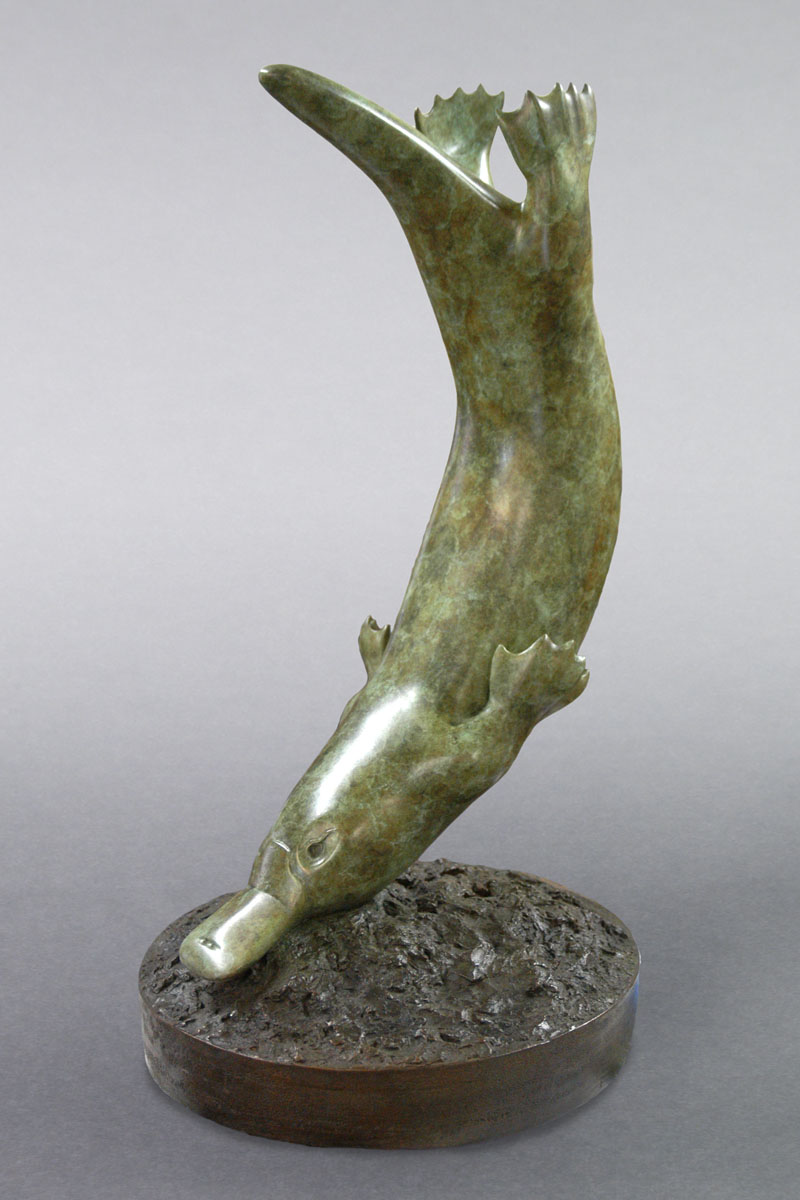 Bronze sculpture of a Duckbill Platypus by artist Anthony Smith