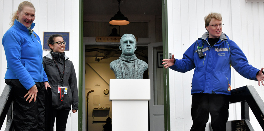 Unveiling of the bronze portrait bust sculpture of polar explorer Sir Ernest Shackleton by artist Anthony Smith at the South Georgia Museum