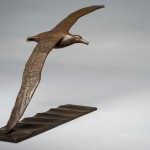 Bronze sculpture of a flying Wandering Albatross by artist Anthony Smith