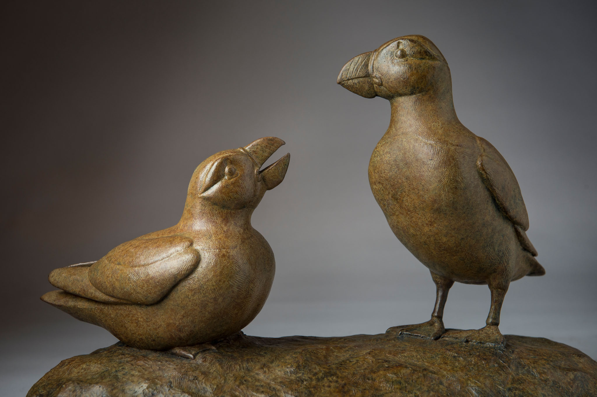 Bronze sculpture of a Pair of Atlantic Puffins by artist Anthony Smith
