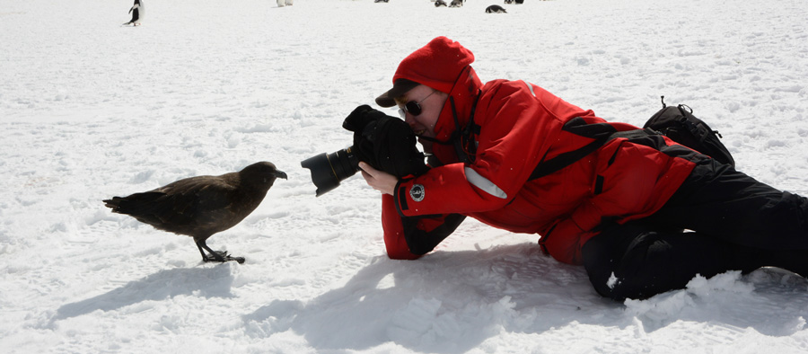 Anthony Photographing in Antarctica