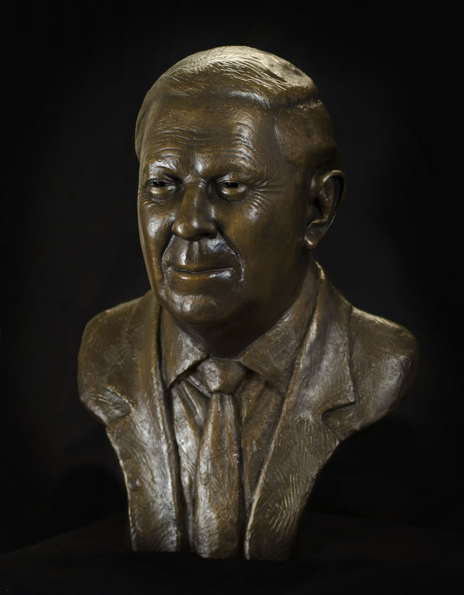 Bronze portrait bust sculpture of the philanthropist Dr Yusuf Hamied by the artist Anthony Smith