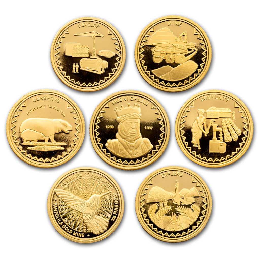 Set of seven Yanfolila gold coins designed and sculpted by the artist Anthony Smith for Hummingbird Resources