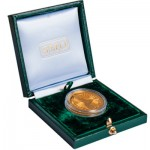 Presentation box of a Yanfolila gold coin designed and sculpted by the artist Anthony Smith for Hummingbird Resources