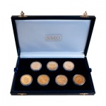 Presentation box set of seven Yanfolila gold coins designed and sculpted by the artist Anthony Smith for Hummingbird Resources