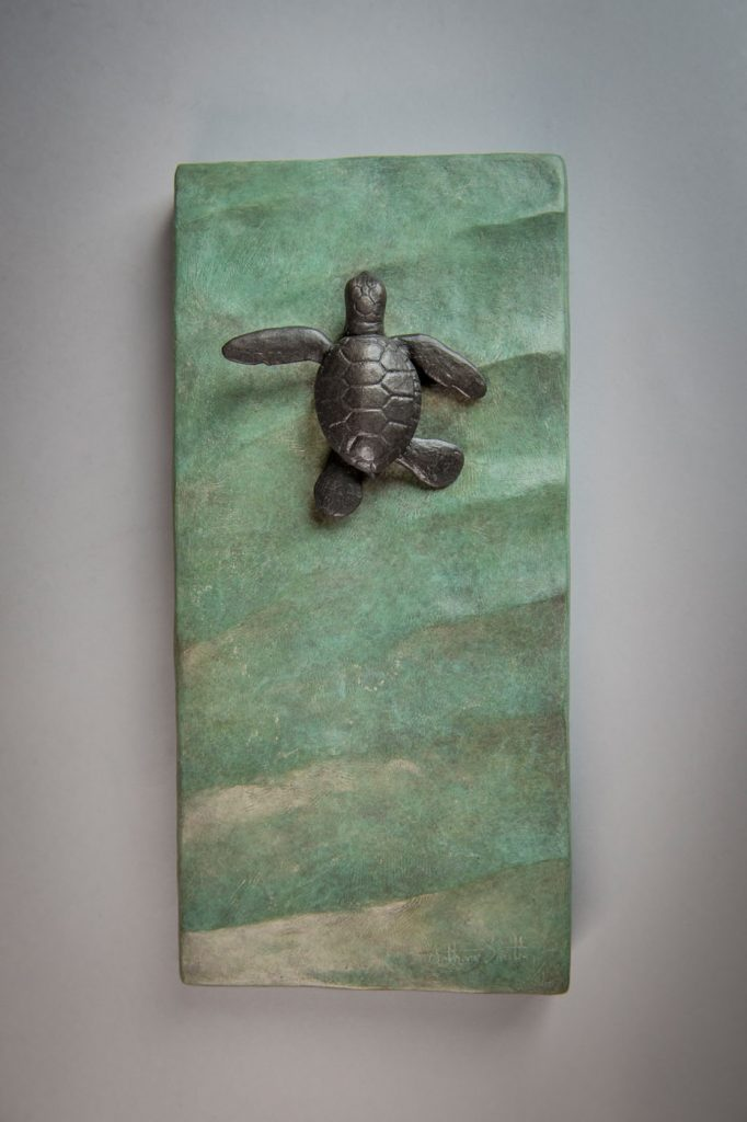 Bronze sculpture of Sea Turtle Hatchling by artist Anthony Smith