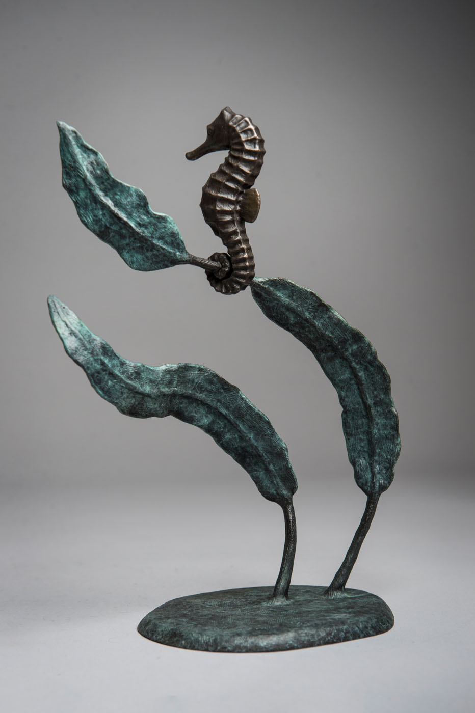 Bronze sculpture of a Sea Horse by artist Anthony Smith