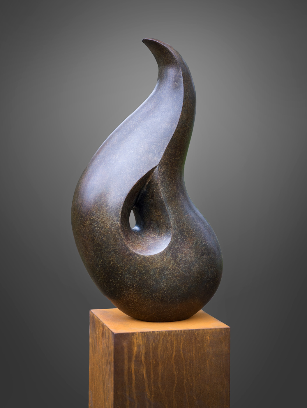 Abstract bronze sculpture by artist Anthony Smith