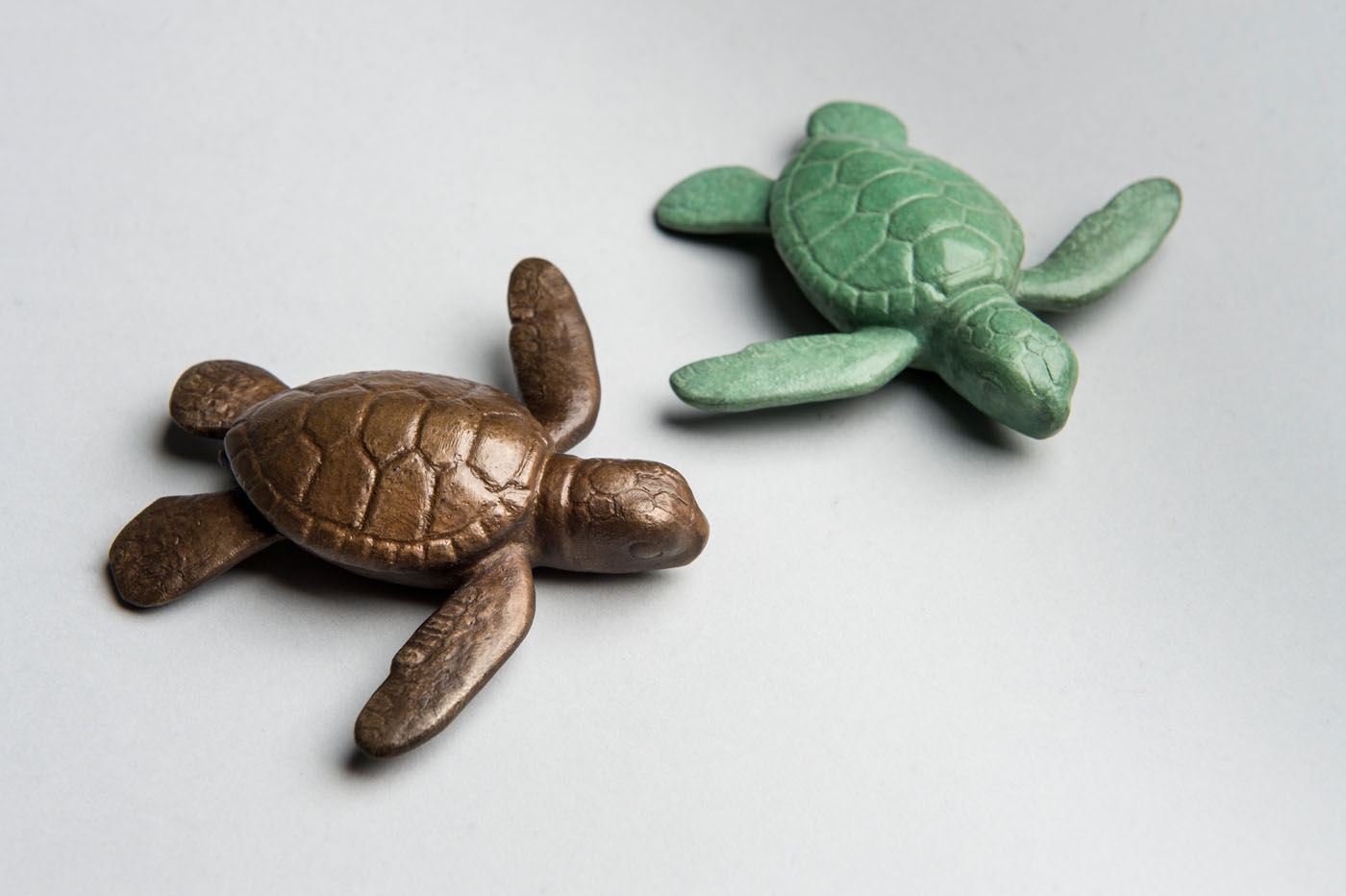 Bronze sculptures of Sea Turtle Hatchlings by artist Anthony Smith