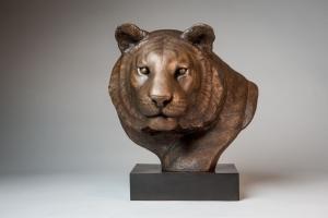 Bronze sculpture of a Tiger head