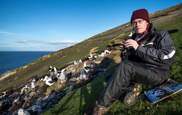 Anthony Smith Photographing Black-browed Albatrosses in the Falkland Islands on assignment for BBC Wildlife Magazine